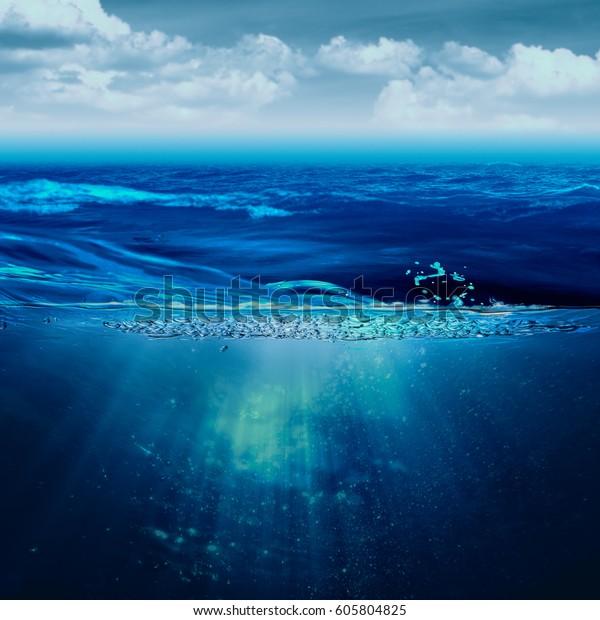 Abstract Marine Backgrounds Stormy Ocean Underwater Stock