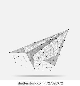 Abstract mash line and point origami plane. Business illustration. Polygonal low poly aircraft. Hided potential, motivation, business goal and personal growth concept.