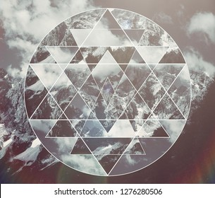 Abstract meditative collage with the image of the mountain landscape and the sacred geometry symbol shri yantra. Harmony, spirituality, unity of nature.