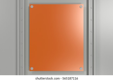 Abstract metal banner. Rectangular colored plate on white background with rivets. 3D render illustration