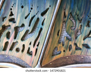 Abstract metal design with layered texture