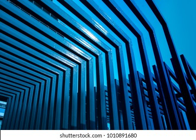 Abstract metal roof. Steel roof. Background of modern metal. Abstract blue tone.