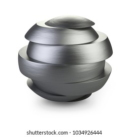 Abstract metal sphere slice into pieces with shift. Cut steel ball. 3d illustration over white background.