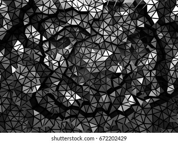 Abstract metal triangle structure background. 3d render illustration
