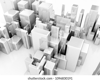 Abstract metallic 3d cubes top view. 3d render