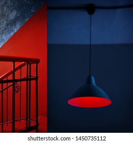 Abstract minimal art collage. Interior details, a combination of red and blue