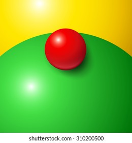 Abstract minimal frame with colorful balls and copy space