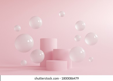 Abstract minimal scene with geometrical forms. Cylinder podiums in cream pink colors. Abstract background. Scene to show cosmetic podructs. Showcase, display case. 3d render. - Shutterstock ID 1800086479
