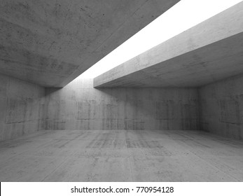 Abstract minimalism architecture background, empty concrete room interior with white ceiling opening. 3d illustration