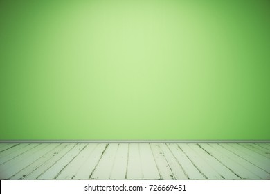 Abstract minimalistic room interior with empty green wall and wooden floor. Advertising concept. Mock up, 3D Rendering