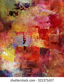 abstract mixed media artwork on canvas structure
