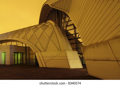 abstract modern architectural structure, sports arena entrance in Tokyo Japan