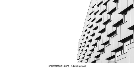 Abstract modern architecture fragment over white background, corners pattern, shiny walls of steel with dark windows