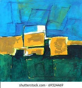 Abstract Modern Art - Illustration from Landscape Painting - Blue/Green Colors