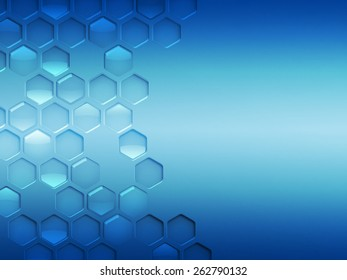 Abstract modern blue background with hexagons