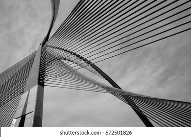 Abstract Modern Bridge Architecture (black and white)
