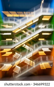 abstract modern bright colored lighted stairway intentionally blurred