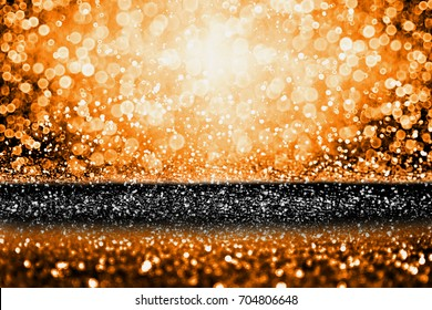 Abstract modern dark orange black glitter sparkle background for happy birthday invite, spooky Fall Halloween party magic design, October kid trick or treat night, Thanksgiving or evening sale poster