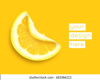 Abstract modern food graphical background with lemon. Bright colors.
