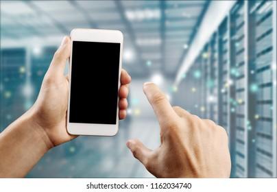 Abstract of modern high tech internet data center room