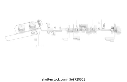 Abstract modern industrial facility with tanks, chimneys and buildings, 3d model isolated on white background, bird eye view