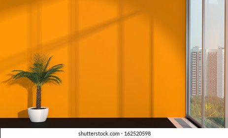 abstract modern interior with palm, orange wall and sunlight