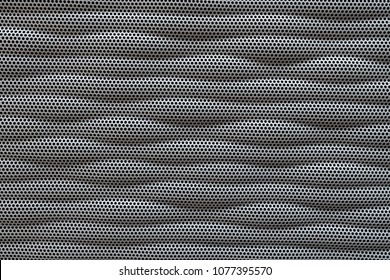 abstract modern metallic background of dotted with wave line textured