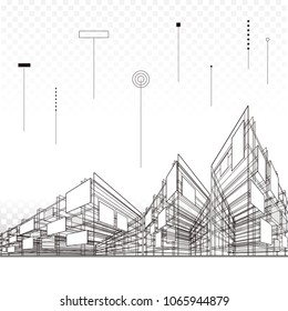 Abstract modern urban architectural perspective line art drawings background.