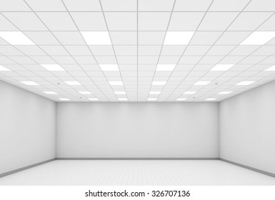 Abstract modern white office interior background. 3d illustration, front view