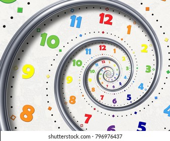Abstract Modern white rainbow spiral clock fractal background. Twisted clocks watch unusual abstract texture fractal High resolution surreal clock spiral fractal background. Time spiral clock concept