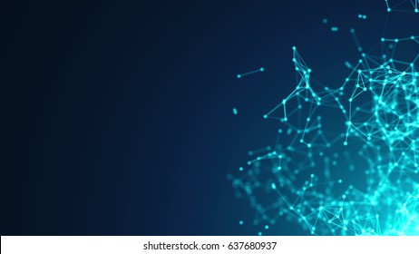 Abstract molecular structure in 3D space on dark blue background. Looped animation.