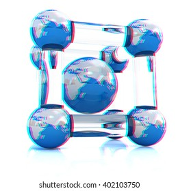 Abstract molecule model of the Earth on a white. Anaglyph. View with red/cyan glasses to see in 3D.