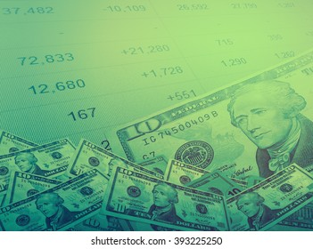 Abstract money with stock market chart background