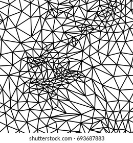 Abstract monochrome geometric pattern and lines background, surface texture in black and white, seamless triangles polygonal pattern. Raster version of illustration