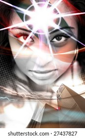 An abstract montage of a beautiful  woman with a starburst coming from her forehead.