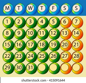 Abstract monthly calendar days of the week