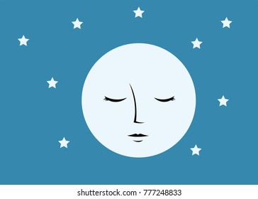 Abstract moon with face
