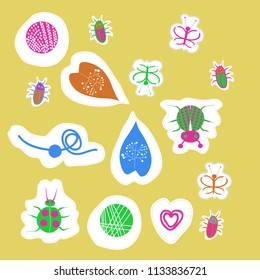 Abstract  motifs, butterflies, lady bugs, beetles,  dotted lines, labels pattern . Hand drawn.