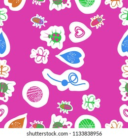 Abstract  motifs, butterflies, lady bugs, beetles,  dotted lines, labels  seamless pattern . Hand drawn.
