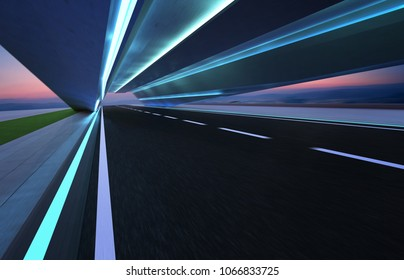 Abstract motion blur effect fast forward moving asphalt tunnel road .