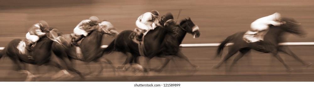 Abstract Motion Blur Horizontal Image of Racing Horses
