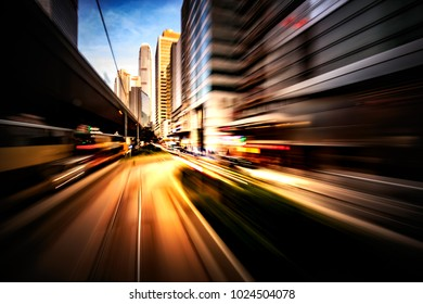 Abstract motion blur image of Hong Kong city street  from moving tram