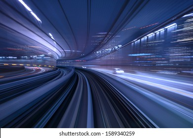 abstract motion blurred long exposure train