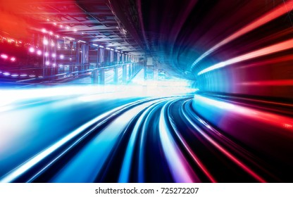 Abstract motion speed railway tunnel with city background