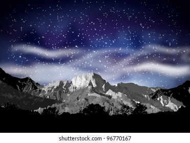 abstract mountain silhouette and evening sky