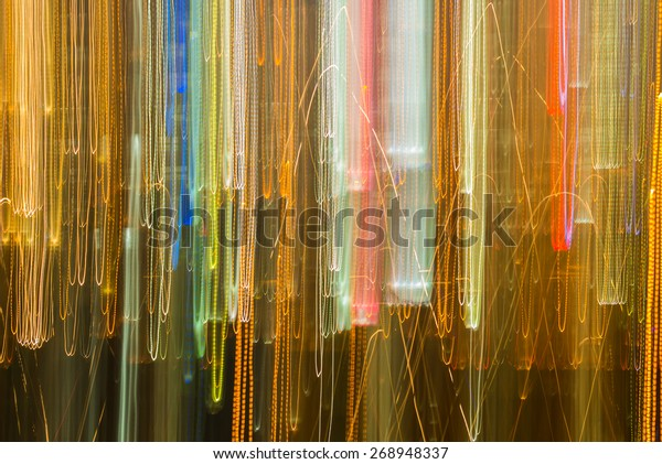 Abstract movement of building light by shaking camera