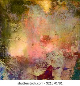 abstract multicolor layer artwork, opaque and transparent oil paint and digital textures on canvas