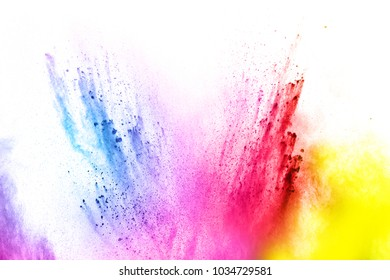Abstract multicolored dust explosion on white background. Abstract color powder splattered  on background.