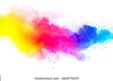abstract multicolored dust splatter on white background.Freeze motion of color powder explosion on white background.