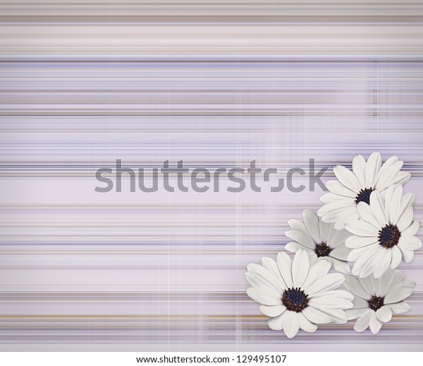 Abstract with multicolored lines and daisy flowers.  Copy space.